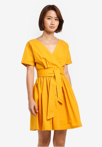 ZALORA yellow Wrap Front Fit & Flare Dress FB644AAD404BF2GS_1