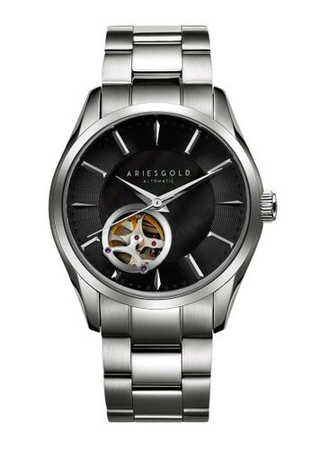 Aries Gold silver Aries Gold Infinum Black and Silver Stainless Steel Watch D68F7ACB281EDCGS_1
