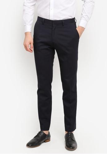Burton Menswear London navy Navy Stretch Slim Fit Trousers BU964AA0T1GVMY_1