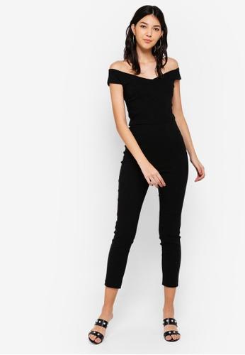 Miss Selfridge black Black Bengaline Bardot Jumpsuit 61DFAAA78726A3GS_1