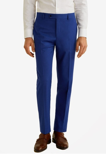 Mango Man 藍色 Slim Fit Microstructure Suit Trousers 0B3A7AA94A0F68GS_1