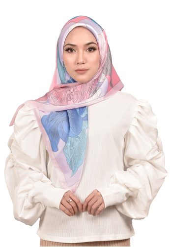 FATIMÉ grey and pink and blue Satin Square Hijab Bloom (Blue Pink) 9891FAAC3DDC4DGS_1