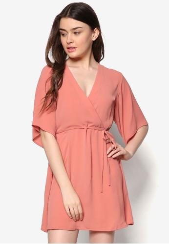 裹式繫帶寬袖連身裙, 服飾,zalora taiwan 時尚購物網鞋子 服飾