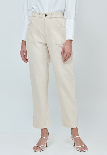 MC Vogue Cream Black Cotton Straight Pants 51F98AAFFC2A34GS_1