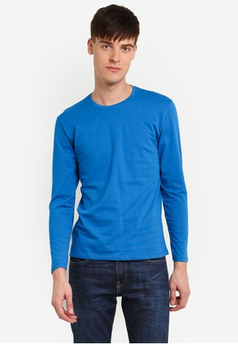 Electro Denim Lab blue Cotton Crew Neck Tee EL966AA0RWIGMY_1