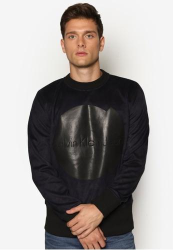 Calvin Klein black CK Suede Sweatshirt - Calvin Klein Jeans CA221AA60DEPMY_1