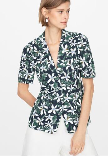 Pomelo blue Floral Blazer Shirt - Navy 98820AA3E96D7EGS_1