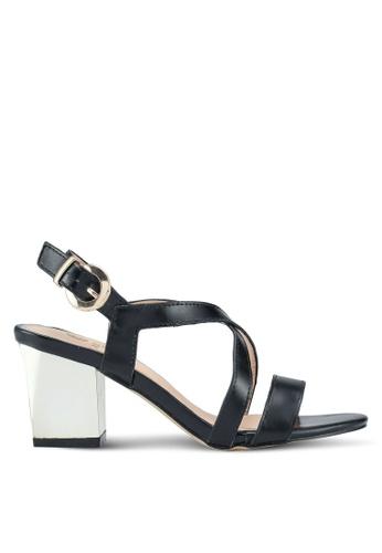 Carlton London black Strap Sandal Heels B07ECSH91745DFGS_1