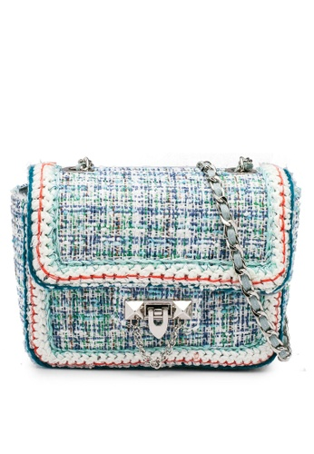 nose blue Tweed Shoulder Bag 0DB35AC8284DAFGS_1