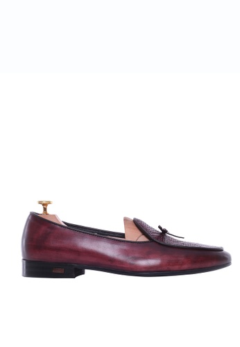 Zeve Shoes red Zeve Shoes Belgian Loafer - Red Burgundy Snake Skin With Ribbon (Hand Painted Patina) BD6E5SHCAEBA4AGS_1