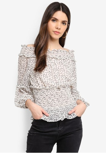 Max Studio white Printed Poly Gorgette Top 9DD35AAA51A7BFGS_1
