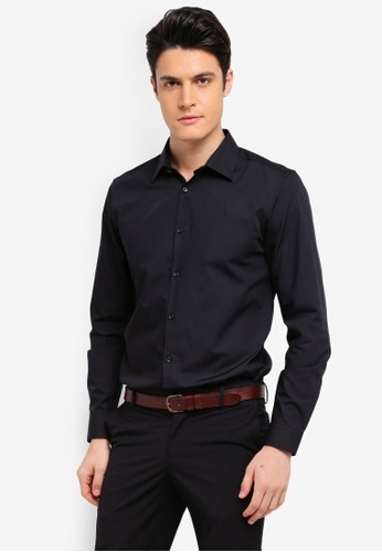 Burton Menswear London black Black Slim Fit Easy Iron Shirt 27369AA16A4EB1GS_1