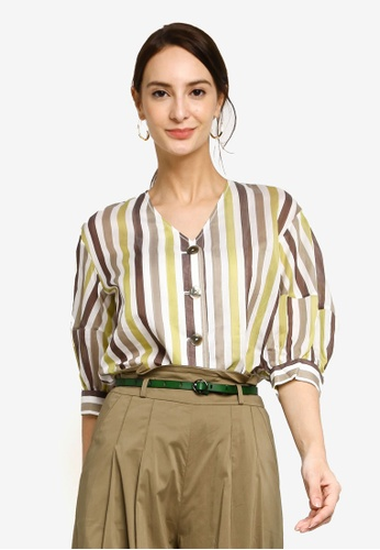 Hopeshow multi Striped V-Neck Button Blouse 28603AADD8A651GS_1