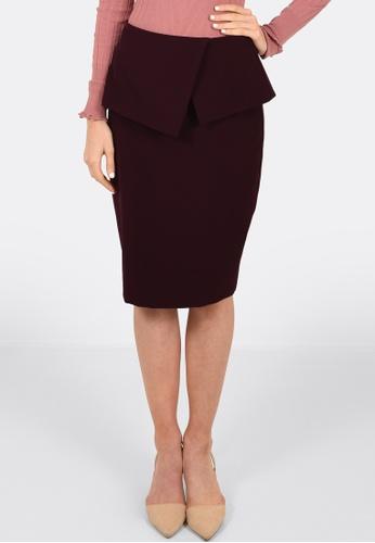 FORCAST purple Cassie Peplum Skirt 8BA62AA1AF89AEGS_1