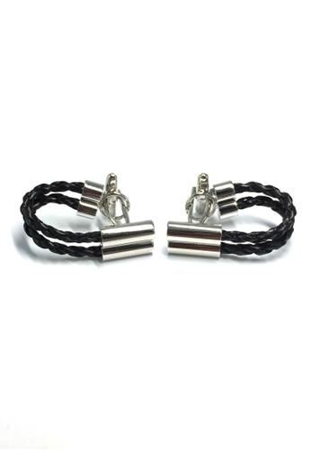 Splice Cufflinks Black Leather Chain Cufflinks SP744AC50ESZSG_1