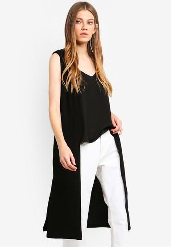 Brave Soul black Heavy Crepe Maxi Length Sleeveless Jacket E2255AA4F1CBA2GS_1