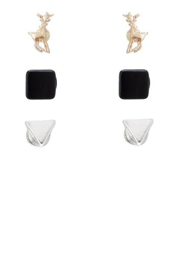 麋鹿與幾zalora 折扣碼何造型耳針組, 飾品配件, 飾品配件