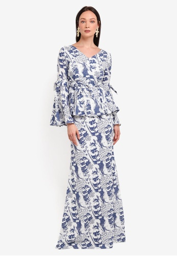 Alia B. blue Claire Modern Peplum Kurung With Bow Detail AL946AA0STDCMY_1