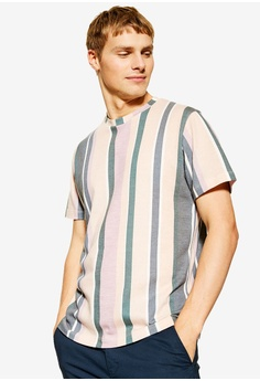 22b8392931 Topman white and multi Muted Pastel Stripe T-Shirt C2296AAD15594AGS_1