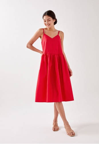 Love, Bonito red Jolei Strappy Ruched Midaxi Dress D93D6AA9676168GS_1
