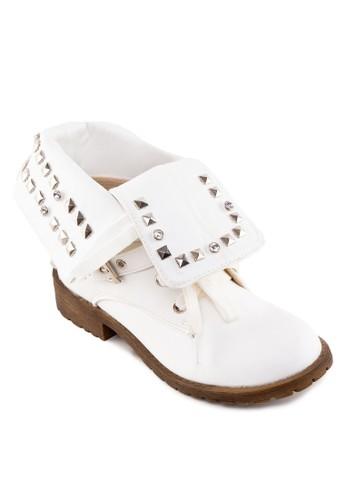zalora taiwan 時尚購物網翻筒鉚釘踝靴, 女鞋, 鞋