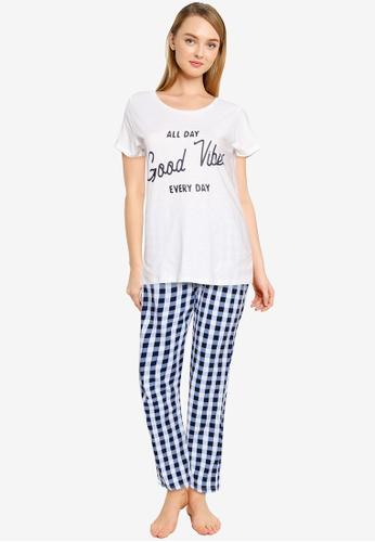 LC Waikiki navy Slogan Printed Cotton Pyjamas Sets 619ECAAE854ABFGS_1