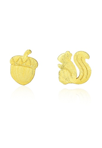 SUNRAIS gold High quality Silver S925 golden squirrel earrings 081DDACA95CE2AGS_1
