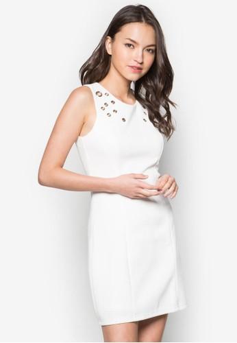 金屬孔貼身連zalora是哪裡的牌子身裙, 服飾, 服飾
