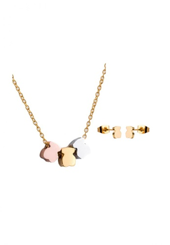 Greatvalueplus gold Newyork Army Stainless Steel Three Tone Mini Bears Pendant Necklace and Earrings Set, NJ21T3  GR688AC37VHMPH_1