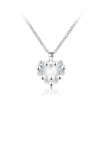 Glamorousky white Simple Sweet Heart Pendant with Cubic Zircon and Necklace 421B8ACADA2CC4GS_1