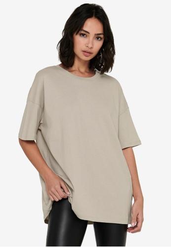 ONLY beige Aya Life Oversized T-Shirt D2C56AA145BB2EGS_1