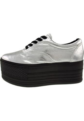 Maxstar 銀色 新款韩国鞋C60-5H-TC時尚皮革布混合女銀色 US Women Size MA345SH48HGTTW_1