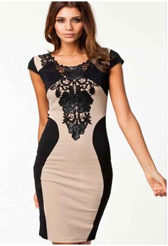 Women's Simple O-Neck Patchwork Above Knee Short Sleeve Bodycon Dress