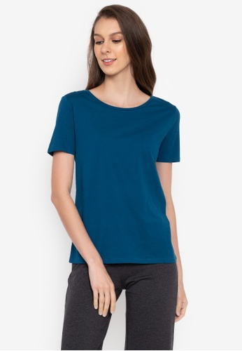 MARKS & SPENCER blue Pure Cotton Crew Neck T-Shirt AC747AADD873D1GS_1