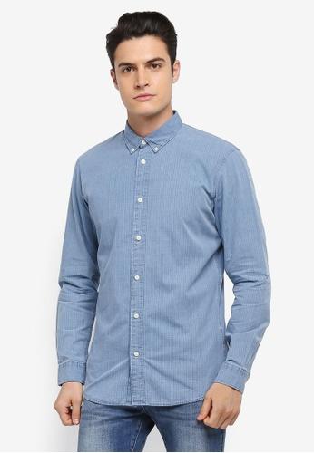 Selected Homme 藍色 長袖格紋襯衫 13F96AA333D9E8GS_1