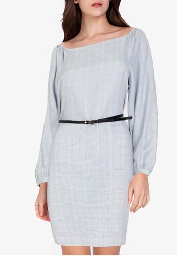 ZALORA WORK multi Square Neck Mini Dress 76486AA0DFF9C5GS_1