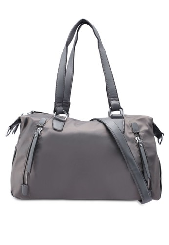 NUVEAU grey PU-Trimmed Nylon Convertible Shoulder Bag 87659AC8E1A129GS_1