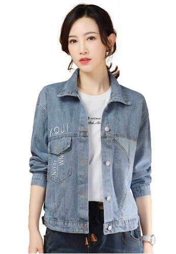 A-IN GIRLS blue Simple Stitching Denim Jacket BCBBFAA9D6A152GS_1