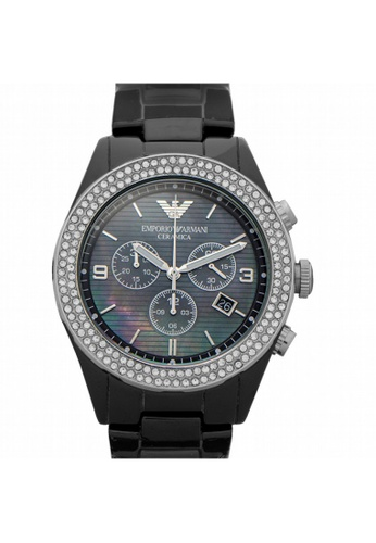Emporio Armani [NEW] Emporio Armani Ceramica Chronograph Quartz Black Dial Ladies Watch AR1455 97293AC841F8E7GS_1