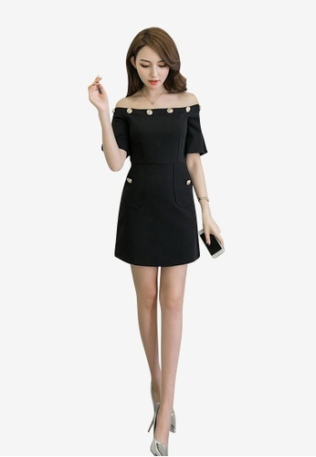 hk-ehunter black Off-Soulder Solid Coloured A-Line Dress CB9A9AA9695688GS_1