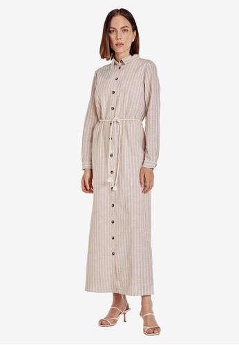 LC Waikiki beige Belted Striped Maxi Shirt Dress C6BDEAA8E7E4F8GS_1