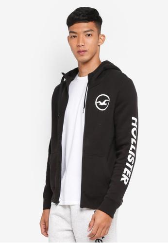 Hollister black Branded Zip Hoodie 3710AAA9CFD1C5GS_1