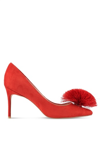ZALORA orange Pointed Toe Pom Pom Heels 7906DZZ478C44DGS_1