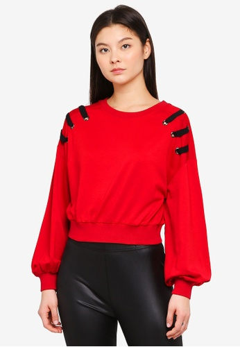 Something Borrowed red Lacing Detail Relaxed Sweater 1E3B0AA16202ADGS_1