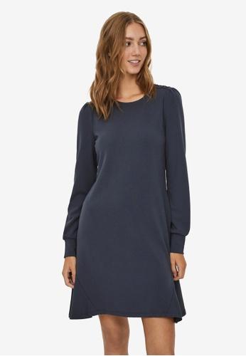 Vero Moda navy Jasmine Long Sleeve Button Dress DE602AA2796E9EGS_1