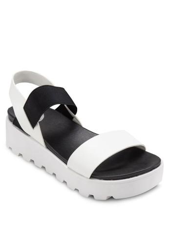 交叉踝帶厚底涼鞋, 女鞋,esprit 錶 鞋