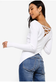 366f0cc90671e Guess white Dina Corset Back Sweater Top DC55AAA2E06904GS 1