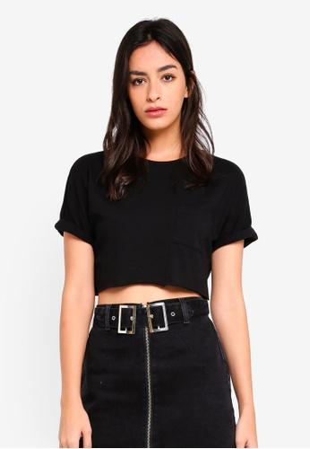 TOPSHOP black Petite Sewn Off Crop T-Shirt 70C40AAC0F24DFGS_1