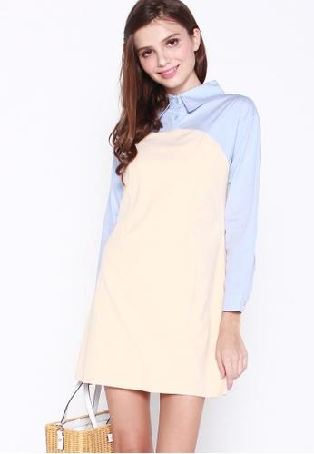 JOVET blue and beige Corduroy Shirt Dress D74D5AA13420D5GS_1