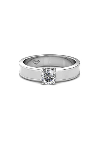 Her Jewellery white and silver Swarovski® Crystals - Rox Ring (White)(18K White Gold Plated) Her Jewellery HE581AC0RAZQMY_1